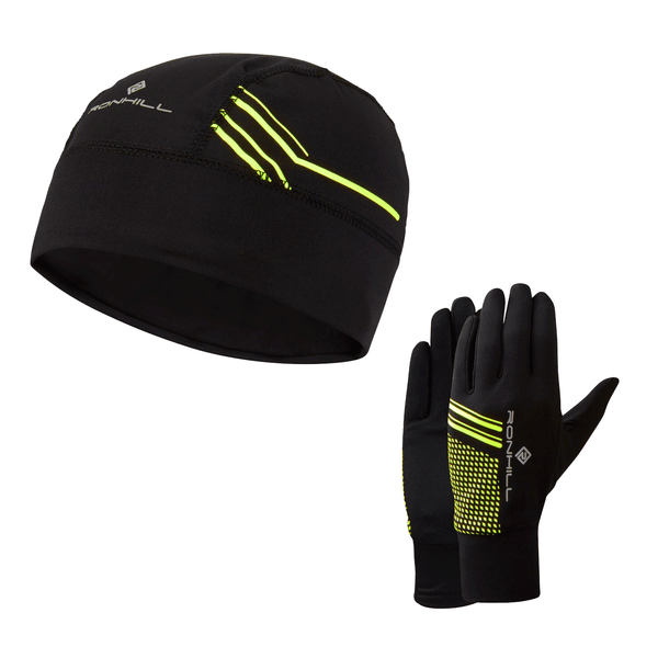 Ronhill Beanie & Glove Set | Black/Yellow