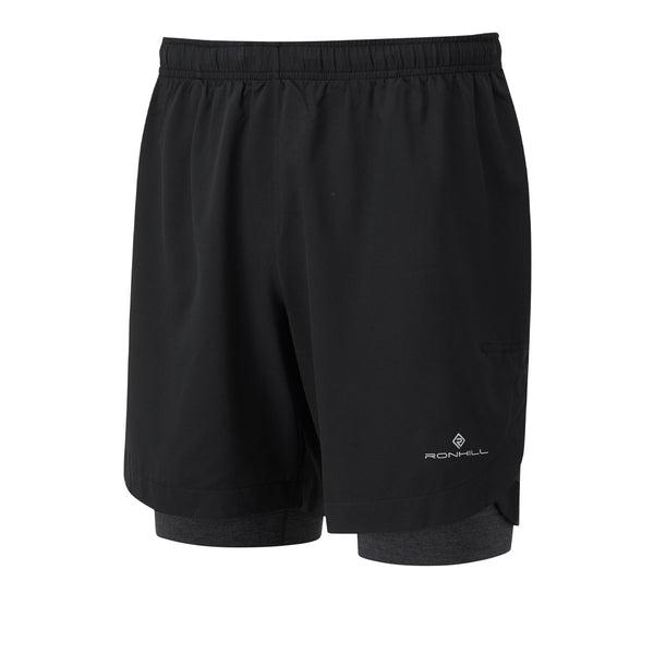 Ronhill Life 7 Twin Short Mens | Black/charcoal Marl
