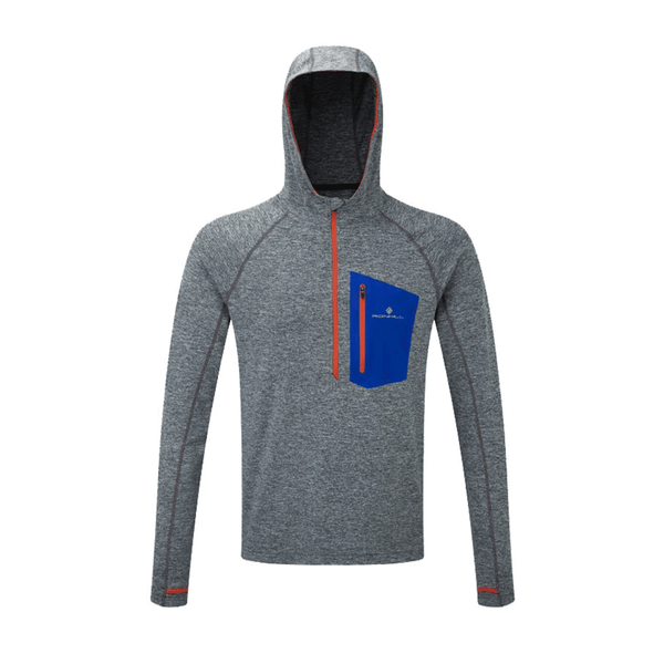 Ronhill Mens Momentum Victory Hoodie | Grey Marl/Flame