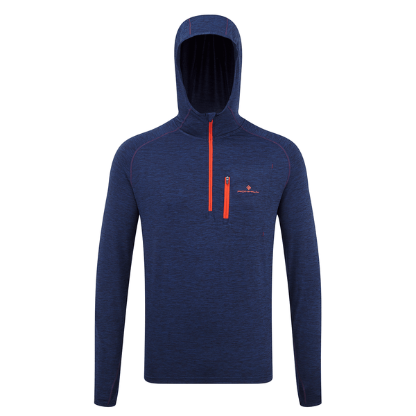 Ronhill Mens Momentum Workout Hoodie | Midbmarl/Lava
