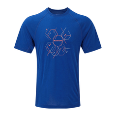 Ronhill Mens Stride Hexagon Short Sleeve Tee | Cobalt/flame