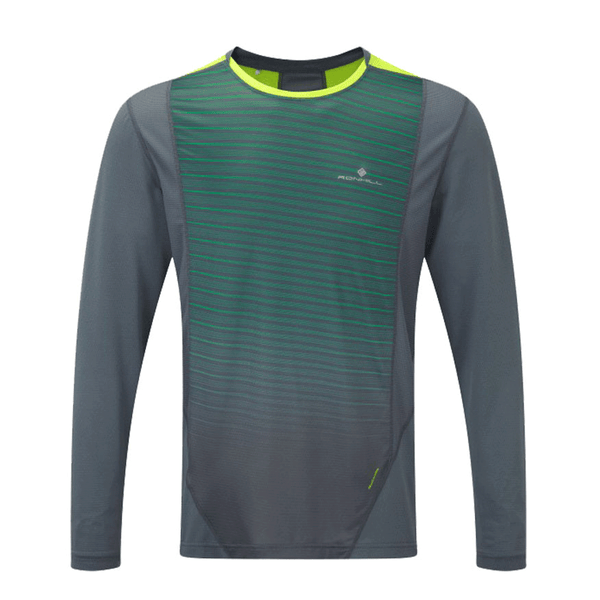 Ronhill Mens Stride Long Sleeve Crew | Granite/forest