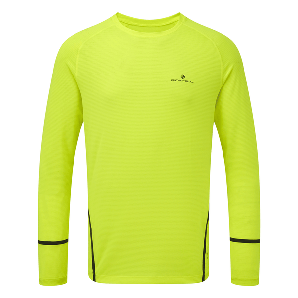 Ronhill Mens Stride Long Sleeve Top | Yellow/Charcoal