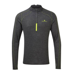 Ronhill Mens Stride Thermal Half Zip | Charcoal/Flou Yellow