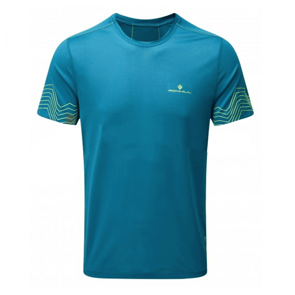 Ronhill Stride Short Sleeve Crew Mens | Petrol/Fluo Yellow