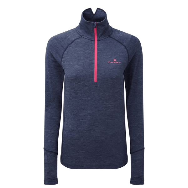 Ronhill Womens Stride Thermal Long Sleeve Zip Tee | Navy/Azalea