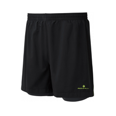 Ronhill Stride Twin Mens 5inch Running Short | Black/yellow