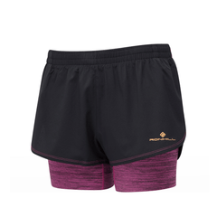 Ronhill Stride Twin Short Womens | Black/Razzmatazz Marl