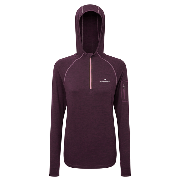 Ronhill Womens Momentum Workout Hoodie | Aubergine/Blossom