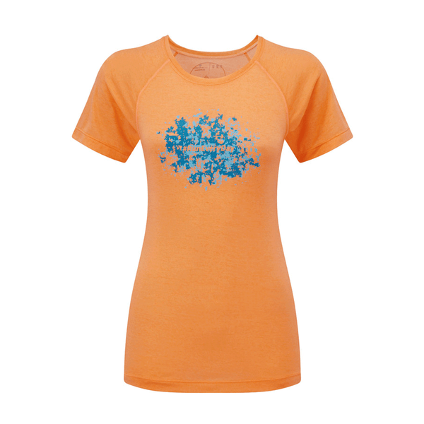 Ronhill Womens Stride Mosaic Short Sleeve Tee | Neon Peach/surf