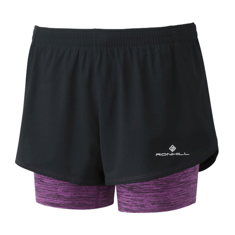 Ronhill Womens Stride Twin Short  | Black/Thistle