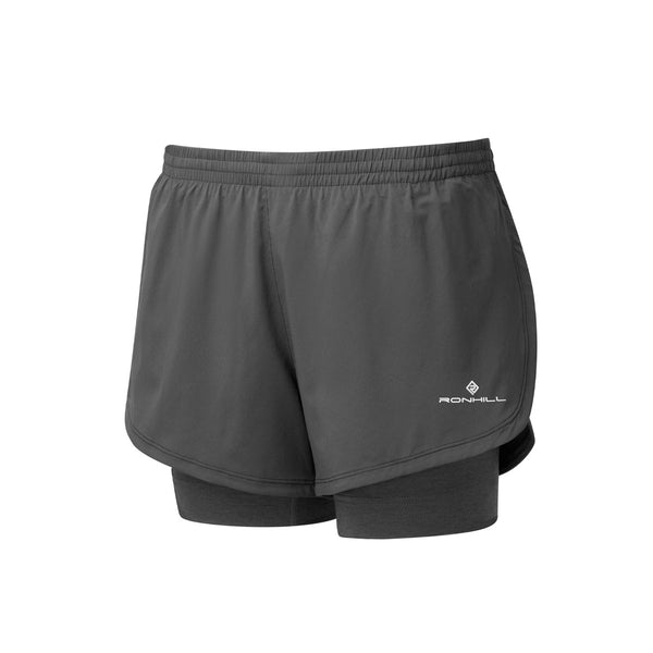 Ronhill Womens Stride Twin Short | Black Charcoal Marl