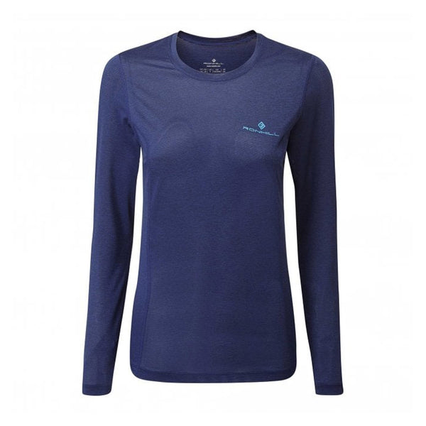 Ronhill Womens Tech Thermal Long Sleeve Tee | Deep Navy Marl/spagreen
