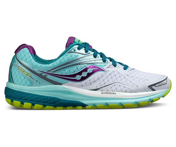Saucony Ride 9 Womens | White/Teal/Purple
