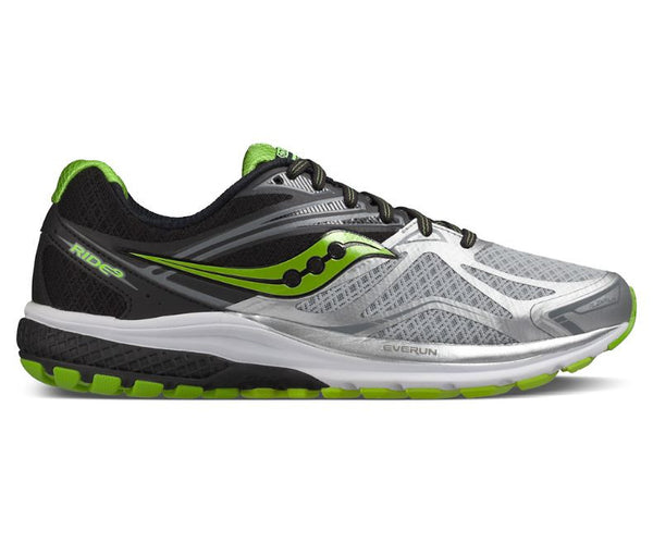 Saucony Ride 9 Mens | Silver/Black/Lime
