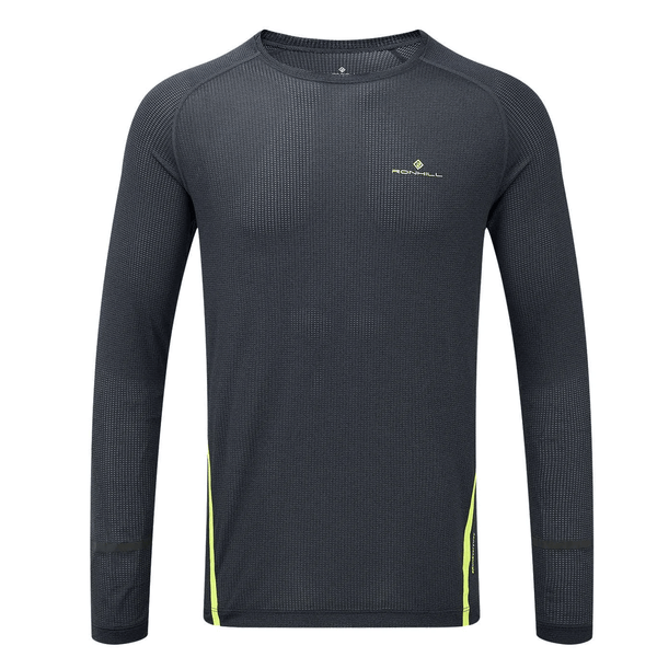 Ronhill Mens Stride Long Sleeve Top | Charcoal/Yellow