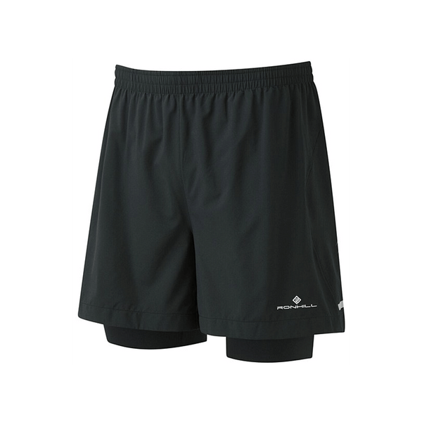 Ronhill Mens Stride Twin 5inch Short | Black/Charcoal
