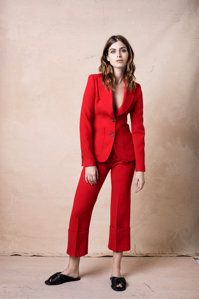 Smythe Portrait Neck Blazer and Cuffed Pant