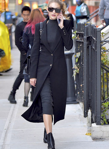 Gigi Hadid in Brando Coat by Smythe