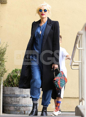 Gwen Stefani in Peaked Lapel Coat in black by Smythe