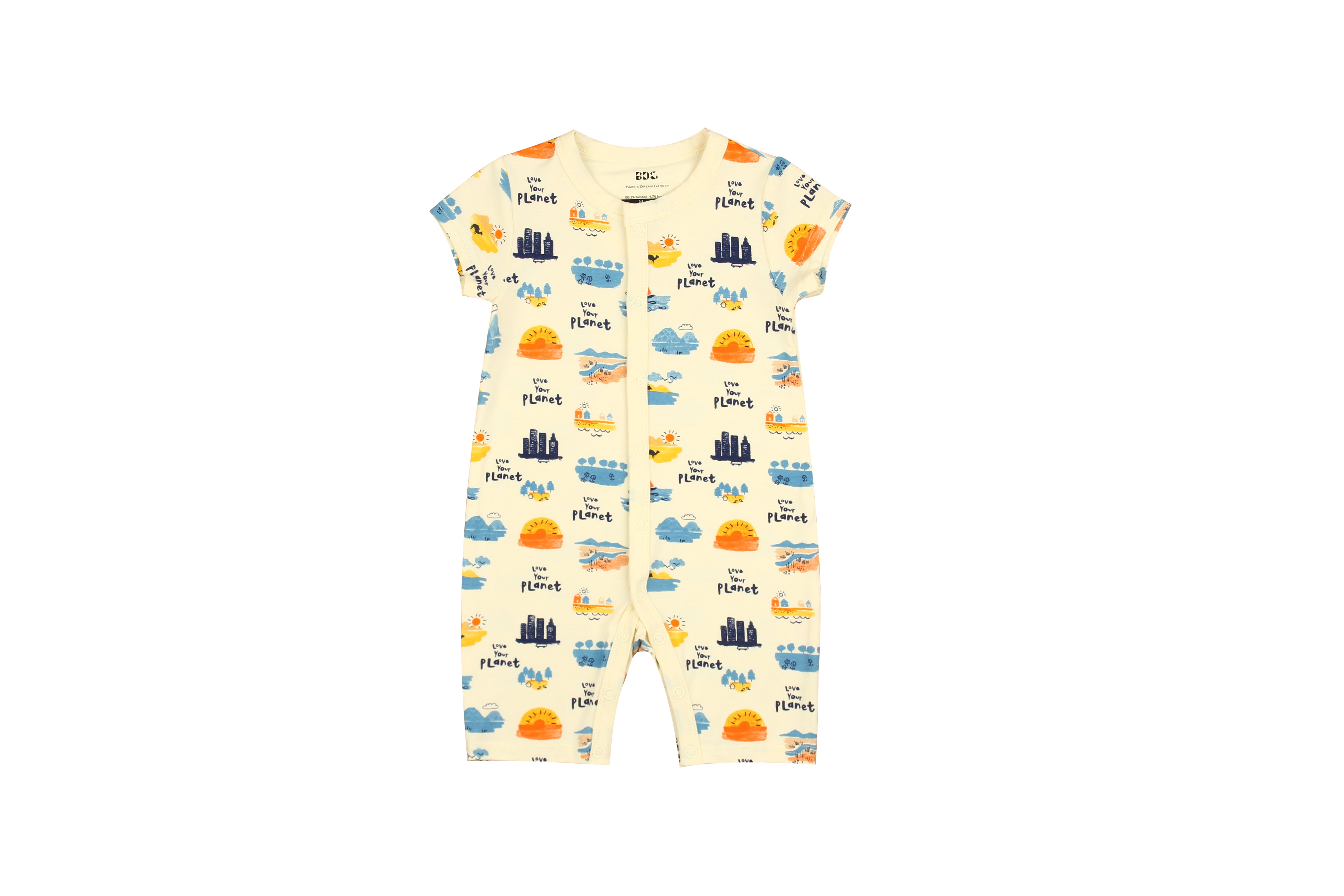 Love Your Planet Short sleeve Flat Bottom Onesie