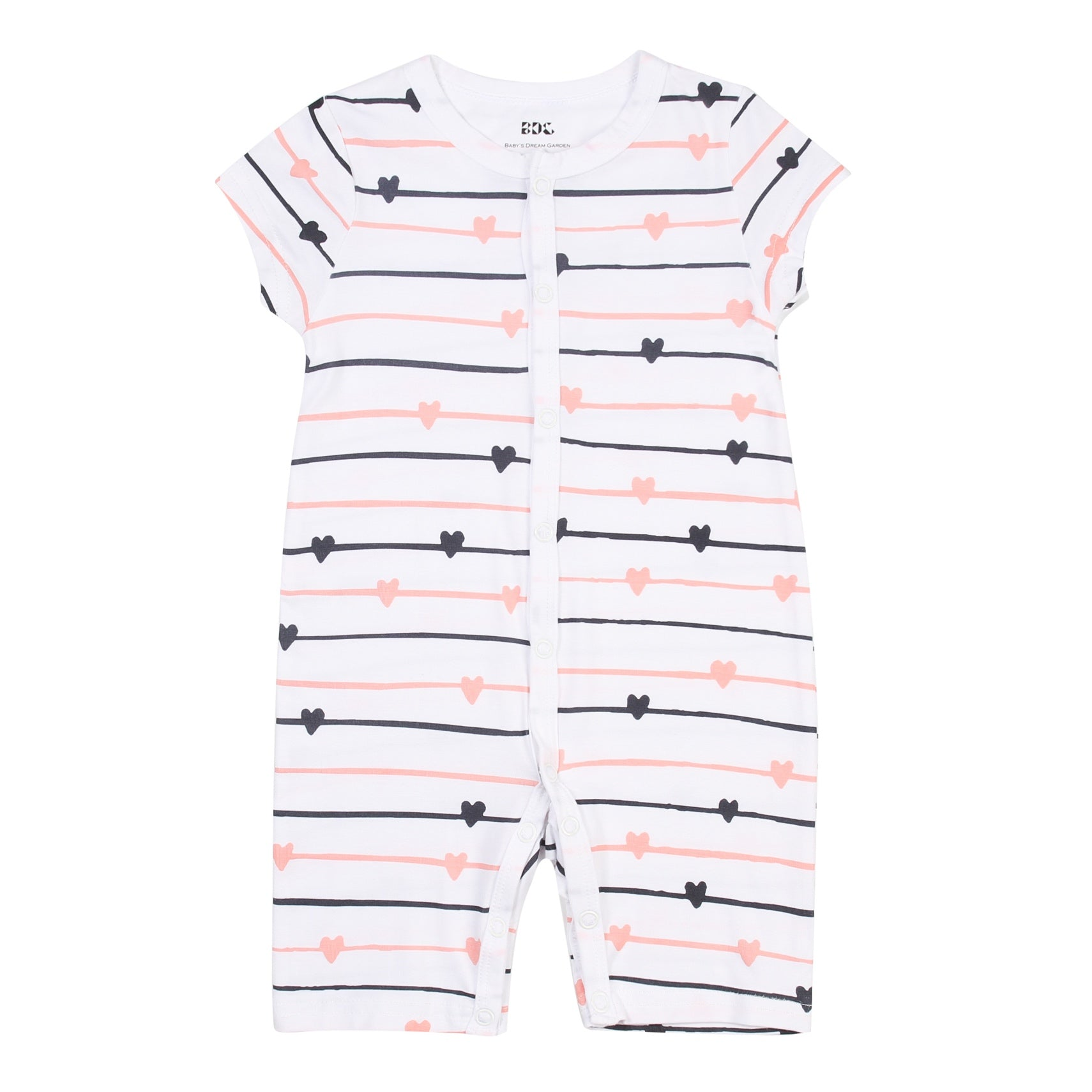 Lovely Heart Short sleeve Flat Bottom Onesie