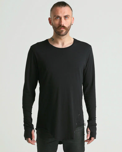 Osil ASYMMETRIC long sleeve Tee-black