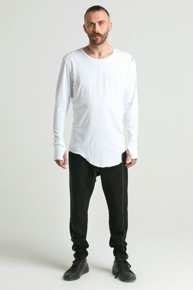 Osil ASYMMETRIC long sleeve Tee-white