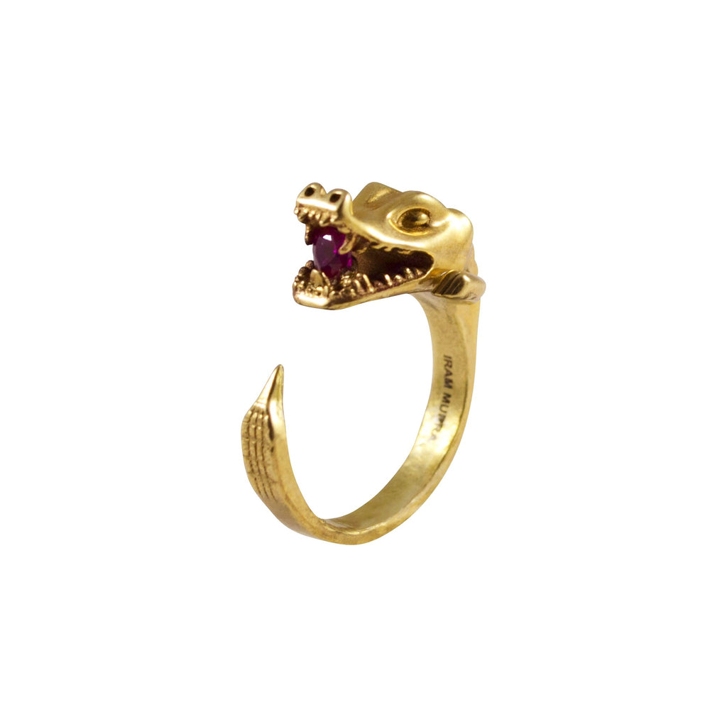 Crocodrile jewelry ring eating a ruby heart shaped ruby handmade in Manhattan New York