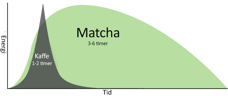 Matcha vs Kaffe energi over tid