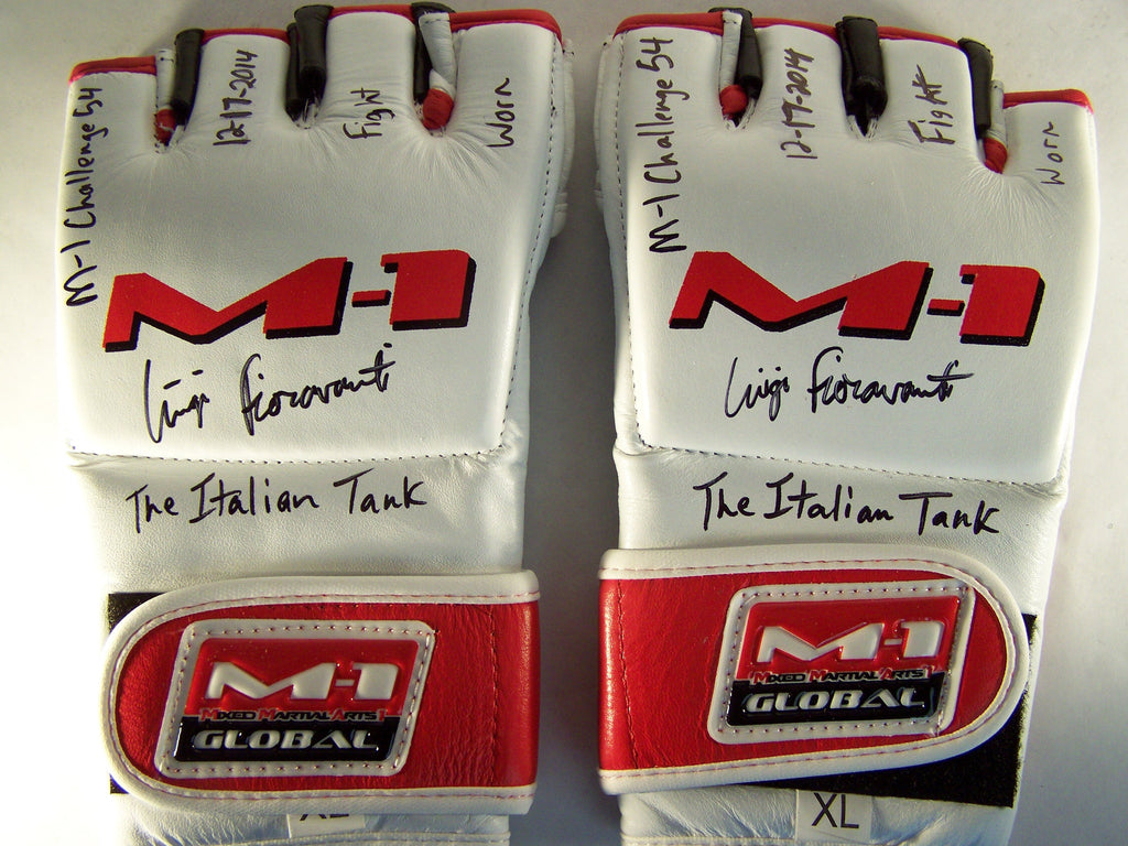 Luigi Fioravanti Signed Fight Worn M1 Global Gloves Autograph Signed UFC PSA COA MMA