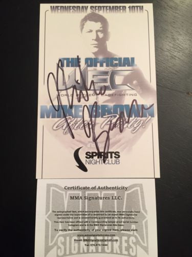 Mike Brown Signed Promo MMA COA Autograph Champion UFC WEC