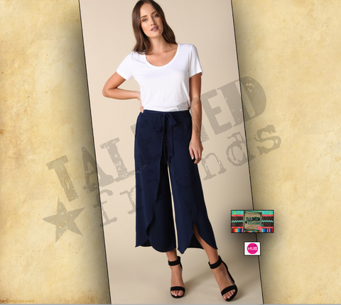 Miss Navy Split Wrap Crop Pants