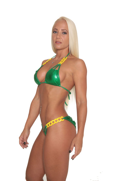 Kelly Green Metallic Bikini By Sassy Assy Swimwear