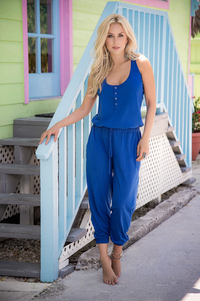 Summer Royal Blue Jumpsuit Great for Resort Wear