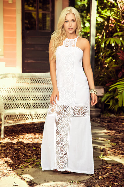 Exquisite Long White Summer Dress Resort Wear
