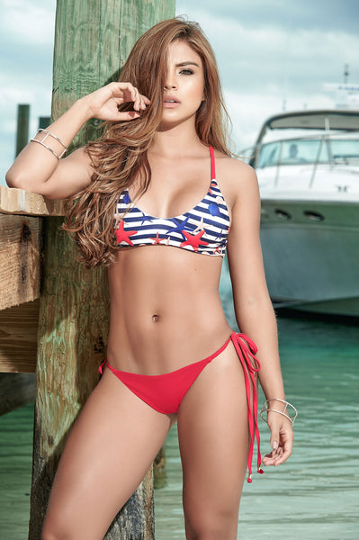 Tie Side Bikini With Thong Bottom-Patriotic Swimwear