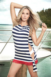 Blue-White Stripes Cover Up Beach Dress