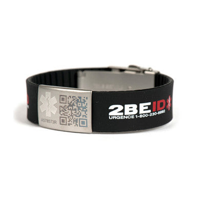 2BEID Medical Alert Bracelets Large Black