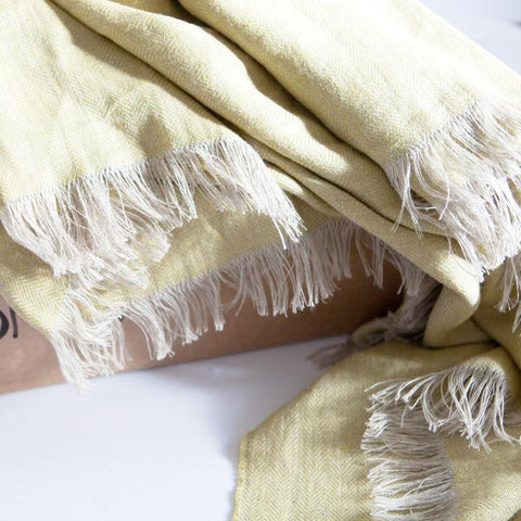 The Fine Herringbone Throw (English Mustard)