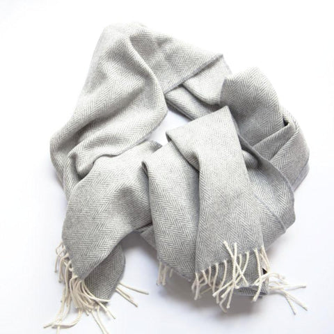 The Merino Wrap - Grey Stripe