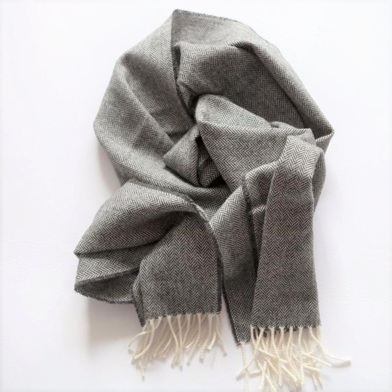charcoal-herringbone-wool-mens-scarf