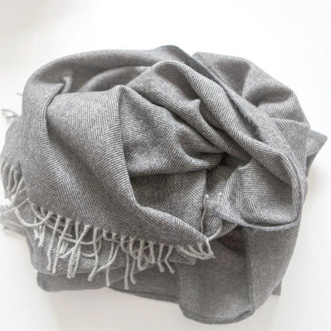 The Linen Merino Throw (Dusk Grey)