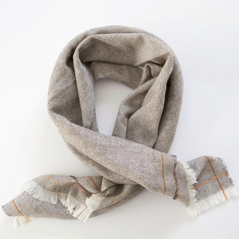 Cashmere Scarf Square (Cream and Orange)