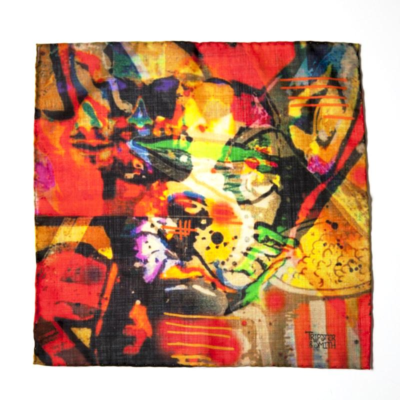 Silk-wool-blend-mens-decorative-hankerchief-red-orange-bulldog-design