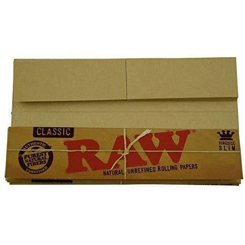 2 Packs RAW Classic Natural Unrefined Rolling Papers Connoisseur Pack King Size Slim w/Tips - Elements - Accessory