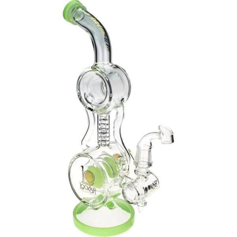 Glass Bong Water Pipe Double Donut Recycler by Lookah - Dab Rig
