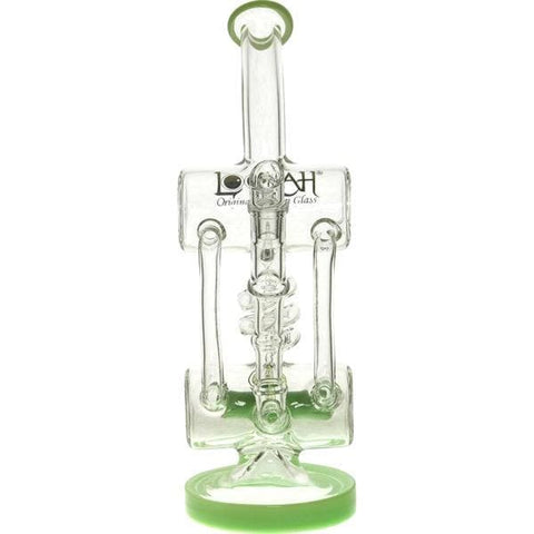 Glass Dab Rig Double Barrel Recycler Water Pipe - Lookah - Green