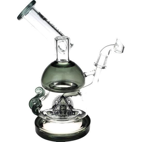 Glass Dab Rig Recycler Water Pipe by Tattoo - Grey