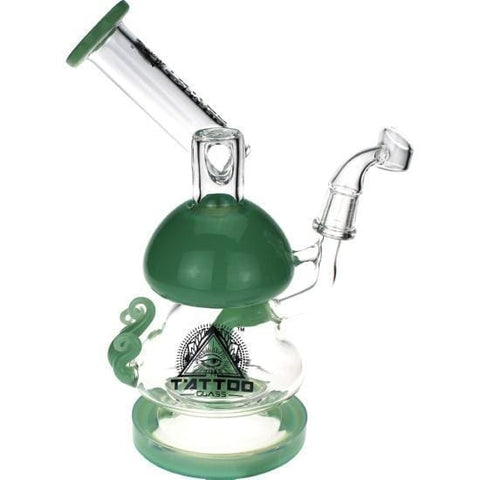 Glass Dab Rig Recycler Water Pipe by Tattoo - Green